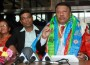 DPM Prakash Man Singh addressing a news conference upon his arrival after participating in UNGA.