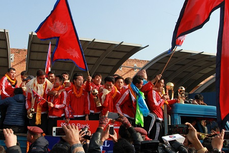 Nepali football team welcome