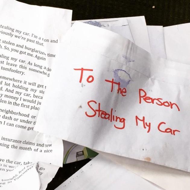 Stolen car letter