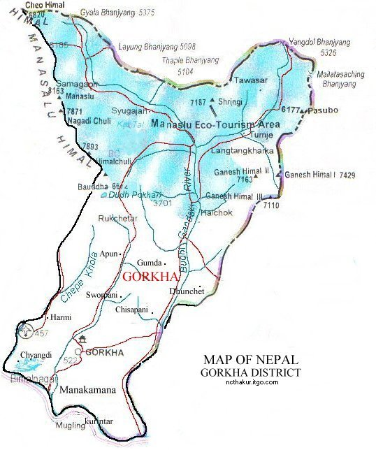 Map of Gorakha