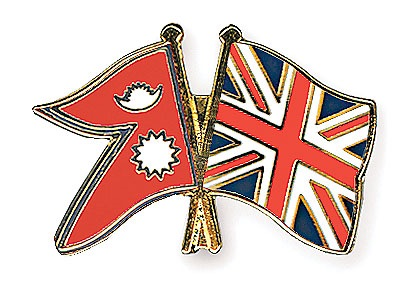 Flag of Nepal and Britain
